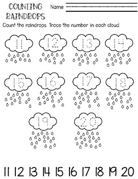 Counting Practice 0-20 Counting Raindrops Printable by