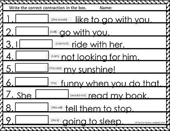 Contractions Activities and Worksheets with Sight Words