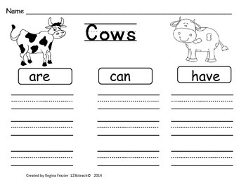 All About Cows, Writing Activities, Graphic Organizers