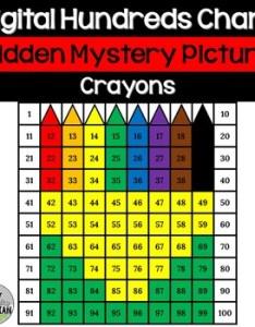 Crayon box hundreds chart hidden picture activity for back to school math also rh teacherspayteachers