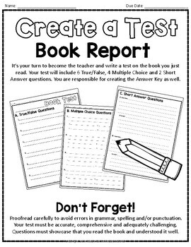 Create a Test Book Report template: Students Love to Make