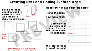 Creating Nets to Find Surface Area of Prisms Google Slides