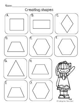 Creating Shapes: First Grade Math by Kindergarten Nerd
