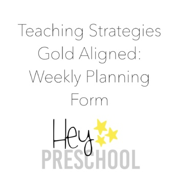 Creative Curriculum Weekly Planning Form by For Little