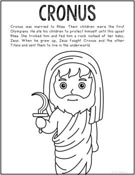 Cronus, Greek Mythology Informational Text Coloring Page