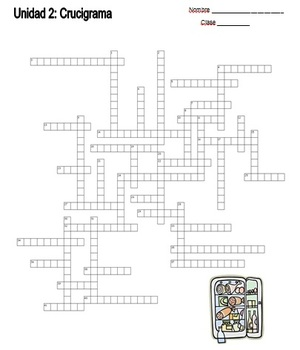 Spanish Crossword Puzzle/ Crucigrama- Food/ la comida #1