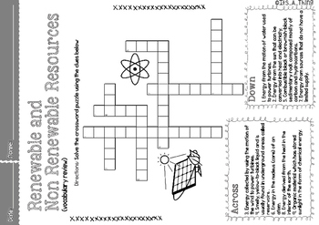 Crossword Puzzle about Renewable and Non-Renewable