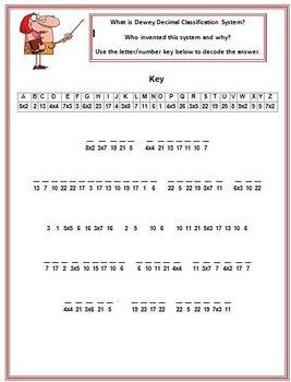 Cryptogram Puzzle Dewey Decimal Classification System