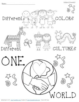 Cultural Diversity Bookmarks & Coloring Page by Teach K to
