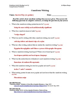Cuneiform Writing Article Reading Level 2 Comprehension