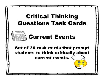 Current Events Critical Thinking Task Cards-Set 20 by