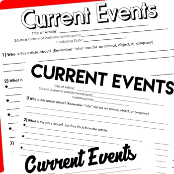 Current Events (Who, What, When, Where, Why) Worksheet