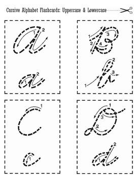 Cursive Alphabet Flashcards: Quarter Sheet and Half Sheet