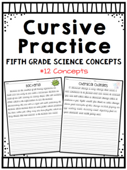 Cursive Practice (For Fifth Grade) ~Science Theme by