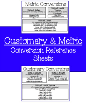 Customary and Metric Conversion Reference Sheets by Big