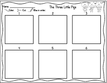 Cut & Paste Sequencing: The Three Little Pigs and The