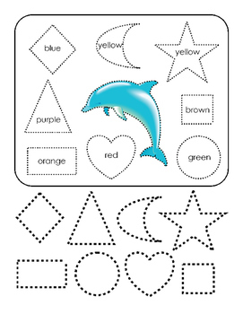 Cut Paste Shapes Art Spell Colors Blue Brown Yellow Red