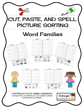 Cut and Paste & Spell Phonics Picture Sorting Worksheets