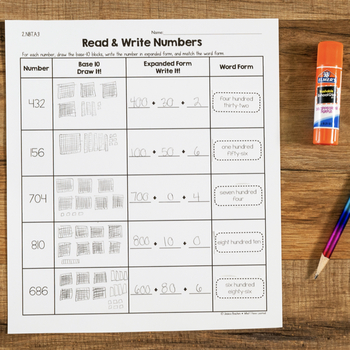 Cut and Paste Math Activities for Second Grade {Every