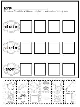 Cut and Paste Worksheets for First Grade ( Short Vowels