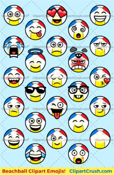 Beach Ball Emoji : beach, emoji, Cartoon, Beachball, Emoji, Clipart, Faces, Beach, Summer, Emojis