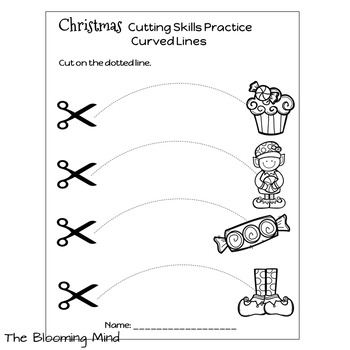 Cutting Practice Scissor Skills Worksheets {Christmas} by
