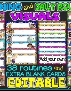 Daily morning routine visual schedule and visuals editable also rh teacherspayteachers
