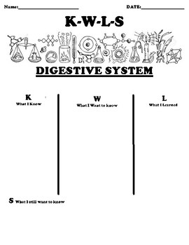 DIGESTIVE SYSTEM K-W-L-S Worksheet and Summary Writing