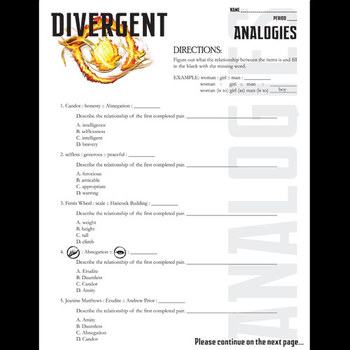 DIVERGENT Analogies PowerPoint & Activity by Created for