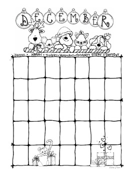 DJ Inkers Blank Monthly Calendars in Black and White by