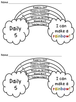 Daily 5 (or centers) Rainbow Tracker Freebie by Primary