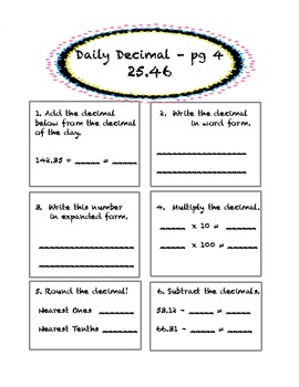 Daily Decimal! 5th Grade Common Core Aligned by Sara