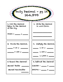 Daily Decimal! 5th Grade Common Core Aligned by Sara