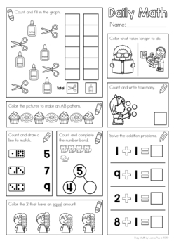 Daily Math Set 2: counting, graphing, addition, time