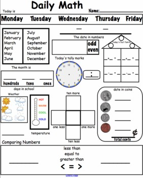 Daily Math Worksheets Commo... by Mrs Hanson's Interactive