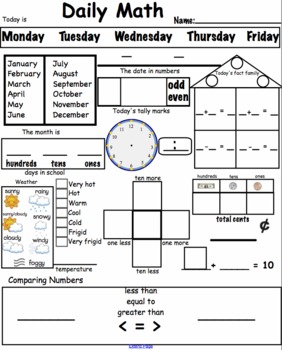 Daily Math Worksheets Common Core Aligned for Smart Math