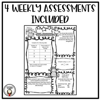 Daily Math Worksheets and Assessments-December by Teacher