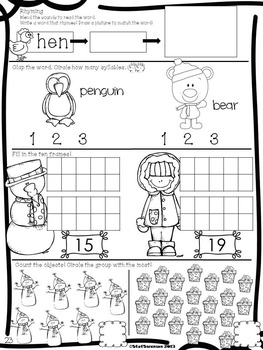 Daily Math and Literacy Winter {February and March