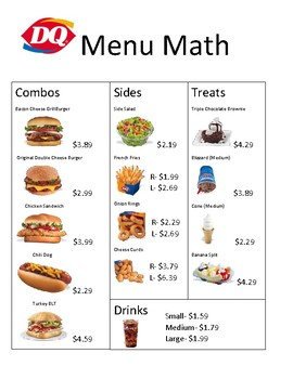 Menu Math Restaurants Worksheets Tpt Lessons For King