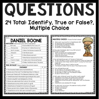 Daniel Boone Biography Reading Comprehension Worksheet