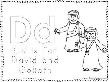 David and Goliath Color and Trace Worksheet. Preschool