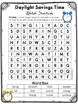 Daylight Savings Time Word Search * Reproducible by Windup