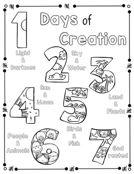 Days of Creation Coloring Page and Handwriting Practice by