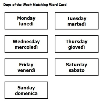 Kindergarten Italian Worksheets Days Of The Week