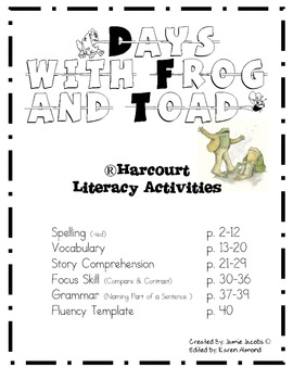 Days with Frog and Toad (Harcourt) by Jacobs Teaching