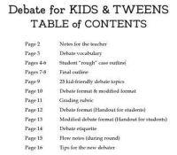 Debate for Kids & Tweens (Tips, Outlines, Rubrics & Other ...