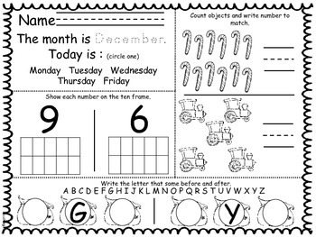 December Daily Math and Reading Morning Work/Homework