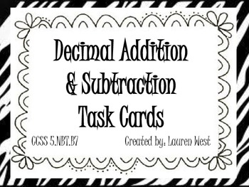 Decimal Addition and Subtraction Task Cards by Math with