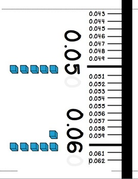 Decimal Number Line with Word Cards 0.001-1 to Hang on