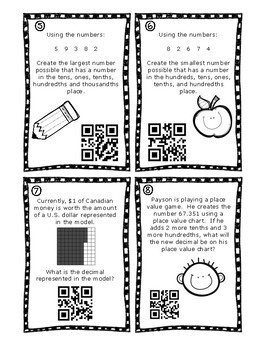 Decimal Place Value & Expanded Notation Task Cards QR